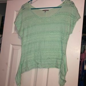 Charlotte Russe Seafoam Green Lace Top